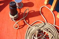 Rope on boat Royalty Free Stock Image