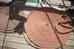 Rope on boats deck Stock Photos