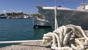 Rope and boats on Rhodes port, Dodecanese,Greece stock video