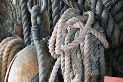 Rope. From boats and ships stock photography