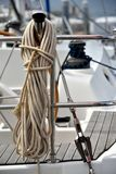 Rope and bollard of yacht Royalty Free Stock Images