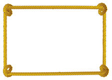 Rope border. Yellow rope frame, border on white background Stock Image
