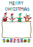 Rope border christmas card made frpm plasticine Royalty Free Stock Photo