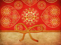 Rope bow on decorative background Stock Photo