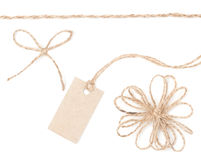 Rope bow tag. Jute wrapping collection for present and pricing. Royalty Free Stock Photo