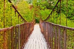 Rope bridge. Carpathian Mountains, Ukraine Stock Image
