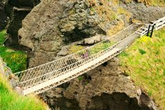 Rope Bridge. View of Carrick-a-Rede rope Bridge, Antrim, Ireland royalty free stock photography