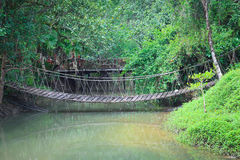 Rope bridge  across river Royalty Free Stock Photography
