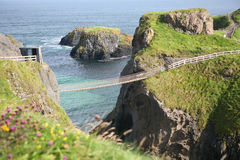 Rope Bridge, Antrim, Northern Ireland. The rope bridge at Carrick-a-Rede, Northern Ireland stock photo