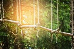 Rope bridge in climbing forest or high wire park, outdoor Royalty Free Stock Photo