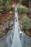 Rope bridge in Himalaya, Nepal Stock Photography