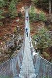 Rope bridge in Himalaya, Nepal Stock Photography