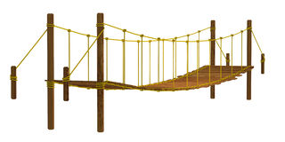 Rope bridge, isolated on the white background Stock Images