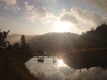 Rope bridge at lakes of Pang-Ong. Royalty Free Stock Photography