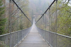 Rope bridge in misty mountains Royalty Free Stock Images