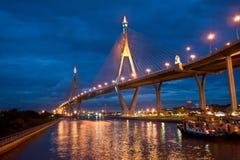 Rope bridge on night sky background. Night landscape Royalty Free Stock Photos