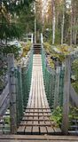 Rope bridge. One of rope bridges in Oulanka national park in Finland Royalty Free Stock Photos