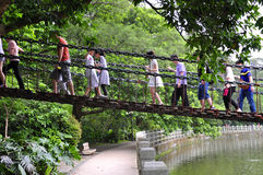 Rope bridge. Park a rope bridge on a large number of visitors every day, walking in the above Royalty Free Stock Images