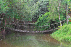 Rope bridge in a park Stock Photos
