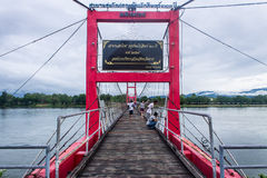 Rope bridge ,Ping River in Tak Thailand Royalty Free Stock Image