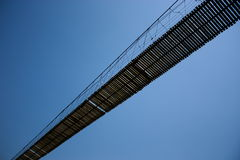 Rope bridge in Tilted angle. Royalty Free Stock Images