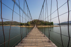 Rope bridge to the island Royalty Free Stock Photo