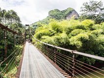 Rope bridge. The ways to across the river in some of the travel place or jungle , popular for extreme adventure travel Royalty Free Stock Photography