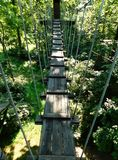 Rope bridge on a zip-line course royalty free stock images