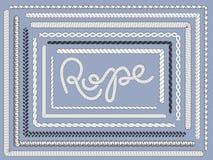 Rope brush. Marine ropes, braided string plait texture knitting rope brushes isolated vector set royalty free illustration