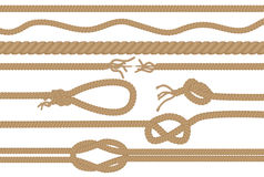 Rope brushes with different knots set Stock Images