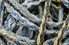 Rope bundle close up. Close up view of nautical nylon rope in a bundle on the quayside Stock Image