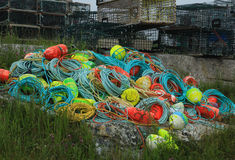 Rope and buoys. Fishing gear rope and buoys out to dry Stock Image