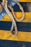 Rope, cable on pier in Venice. Rope, cable, pier ,knot, land, marine, wire, cable,Venice Stock Image