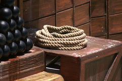 Rope and Cannon balls Stock Images
