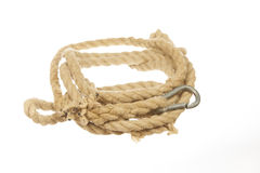 Rope with carabiner isolated on white background. Natural hemp rope with carabiner isolated on white background Royalty Free Stock Photos