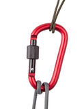 Rope with carabiner. Two rope with a red carabiner Stock Photos
