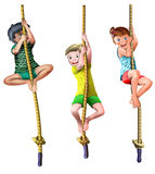 Rope climbing children. Rope climbing climb children Kids illustration isolated graphic cartoon  divers diversity sport play playing girl boy multicultural Stock Photography