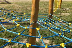 Rope climbing frame in the shape of cobwebs Royalty Free Stock Photography