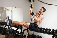 Rope climbing workout Royalty Free Stock Photography