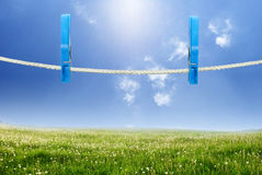Rope with clothespin Royalty Free Stock Images