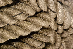 Rope coil. Coil of rope on a ship Stock Images