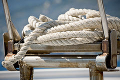 Rope coil on a sailboat deck Royalty Free Stock Photography