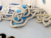 Rope coiled on a boat Stock Photos