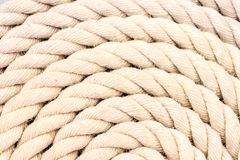 Rope coiled up in circles stock photos