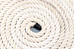 Rope coiled up in circles stock photo