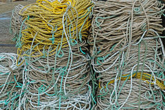 Rope coils on an English quayside Royalty Free Stock Photo
