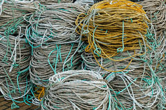 Rope coils on an English quayside Stock Photos