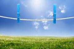 Rope com clothespin Imagens de Stock Royalty Free