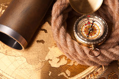 Rope, compass and map Royalty Free Stock Images