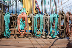 Rope control the sails Royalty Free Stock Image